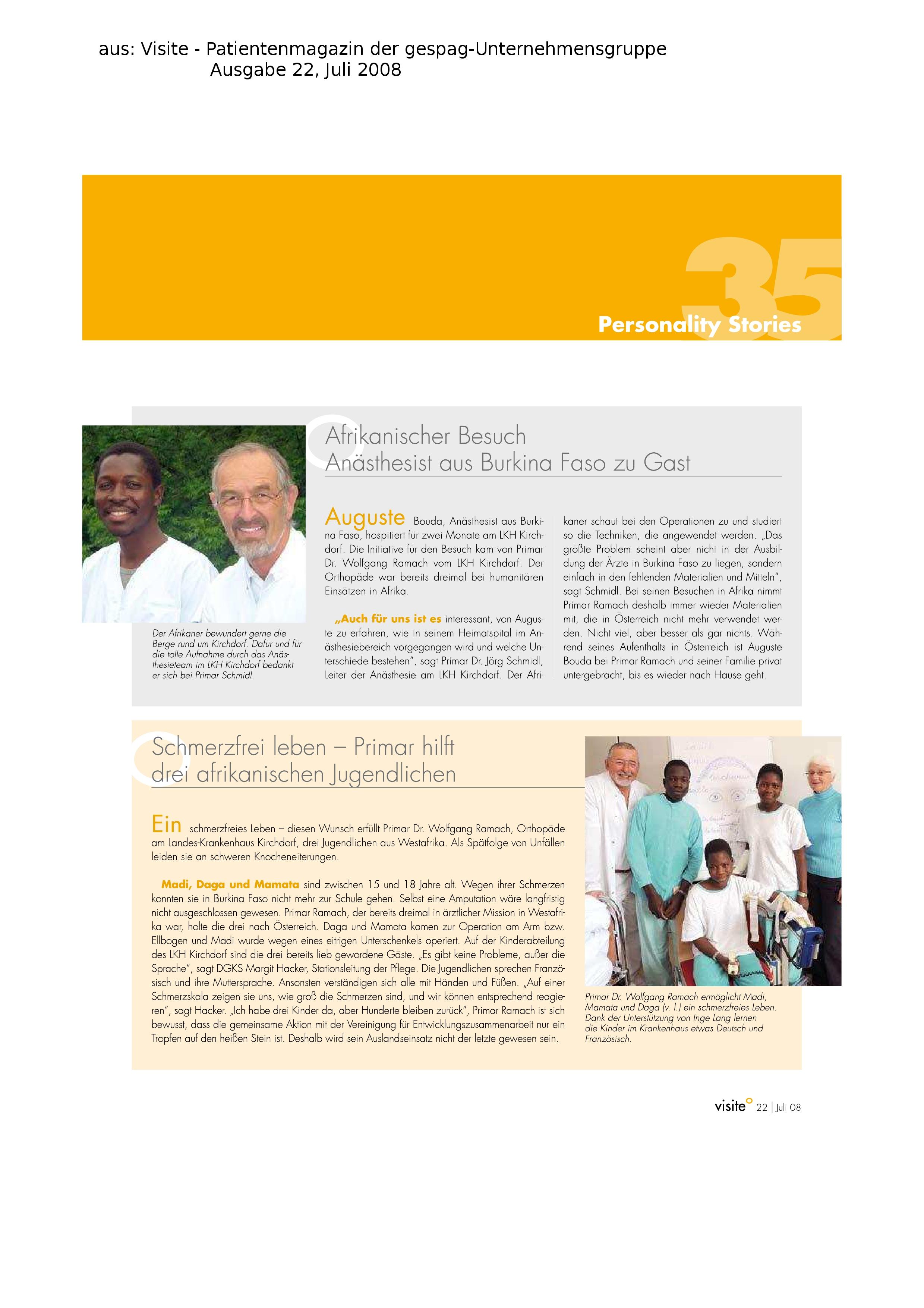 Artikel in der gespag-Zeitschrift Visite